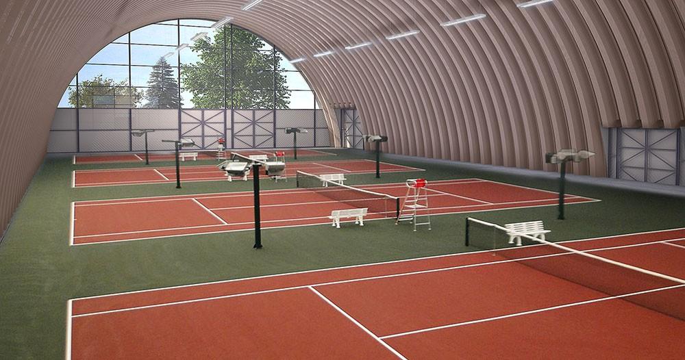Строительство теннисных кортов крытых летних от 28000 р. /м2 под ключ